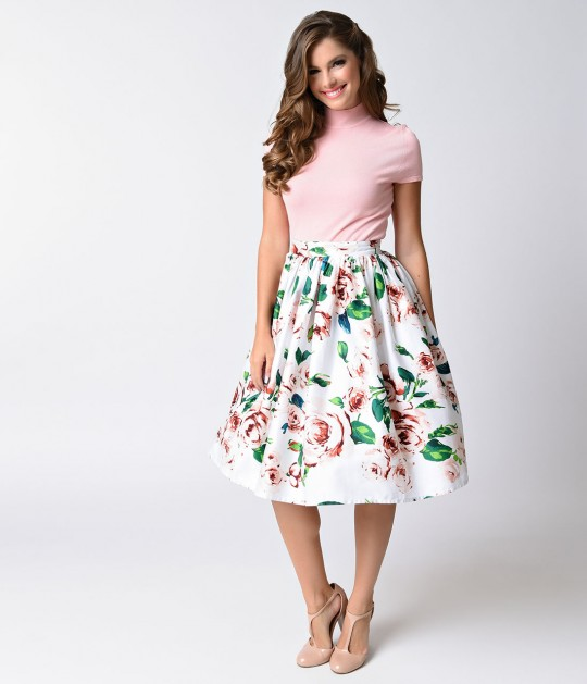 Unique_Vintage_White_Pink_Rose_Print_High_Waist_Swing_Skirt